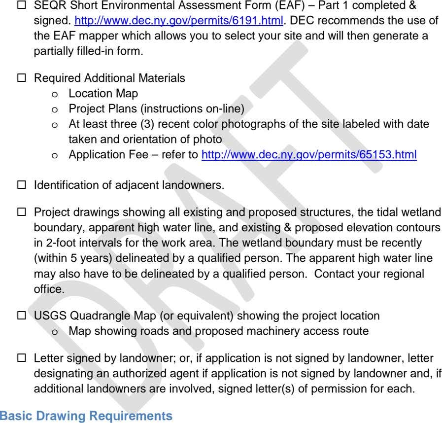  SEQR Short Environmental Assessment Form (EAF) – Part 1 completed & signed.