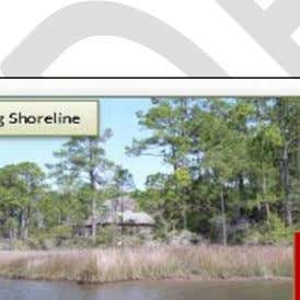 Figure 2. Benefits of Living Shorelines, vegetated slope of living shoreline in upper left compared