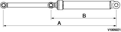 [GB]   Adjustable boom and cylinder, specifications Figure 1 2nd cylinder   Unit Dimension A