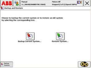 "do mesmo.  Pressione ""ABB""  Pressione ""Backup and Restore""  Pressione ""BackUp Current System"""
