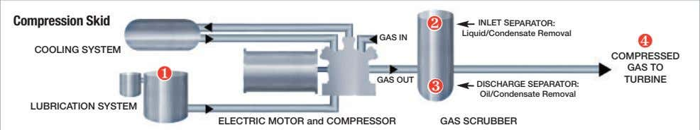 Compression Skid INLET SEPARATOR: ❷ Liquid/Condensate Removal GAS IN ❹ COOLING SYSTEM COMPRESSED GAS TO