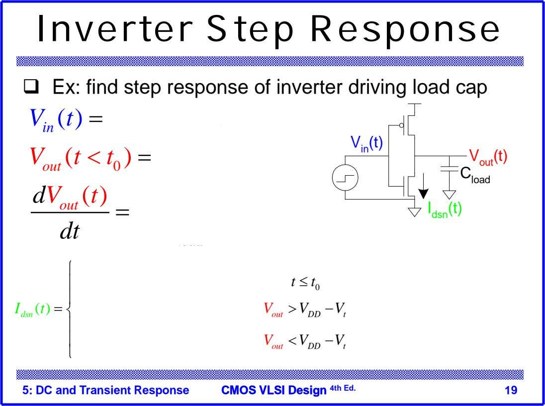 Inverter Step Response  Ex: find step response of inverter driving load cap ( )