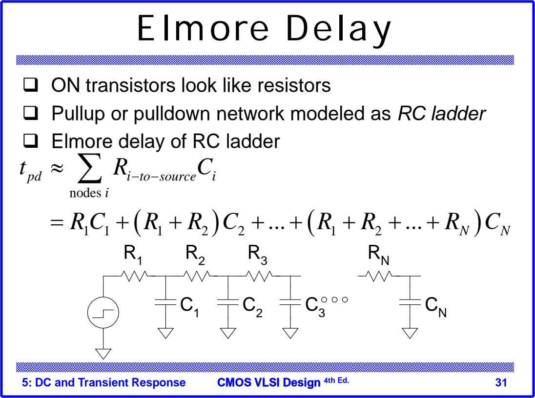 Elmore Delay  ON transistors look like resistors  Pullup or pulldown network modeled as