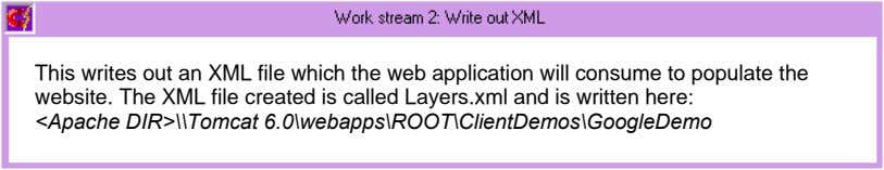 This writes out an XML file which the web application will consume to populate the