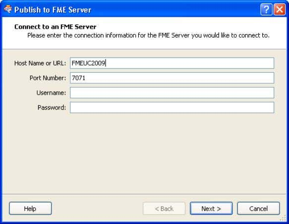 parameters to the FME Server in FME Workbench 2009 In FME 2009 Workbench connects to the