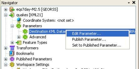 Right: Updating Destination KML Dataset 6) Run the Workspace Run the workspace (using FME