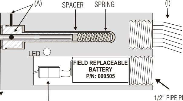 (A) (I) SPACER SPRING LED FIELD REPLACEABLE BATTERY P/N: 000505