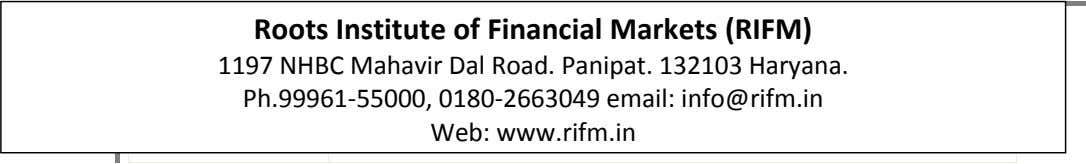 Roots Institute of Financial Markets Roots Institute of Financial Markets (RIFM) 1197 NHBC Mahavir Dal