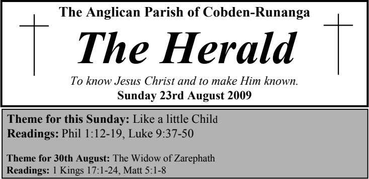 The Anglican Parish of Cobden-Runanga The Herald To know Jesus Christ and to make Him