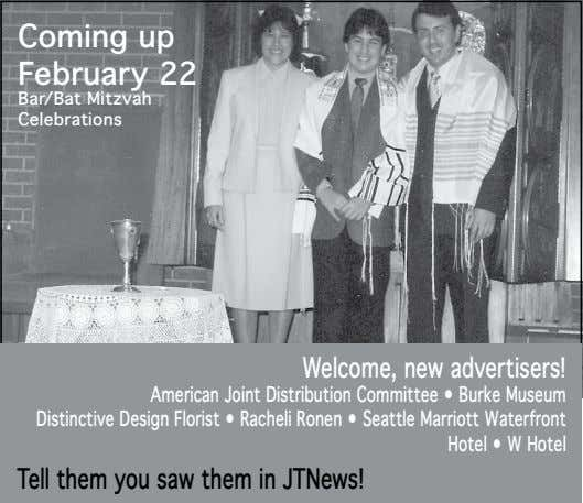 Coming up February 22 Bar/Bat Mitzvah Celebrations Welcome, new advertisers! American Joint Distribution Committee