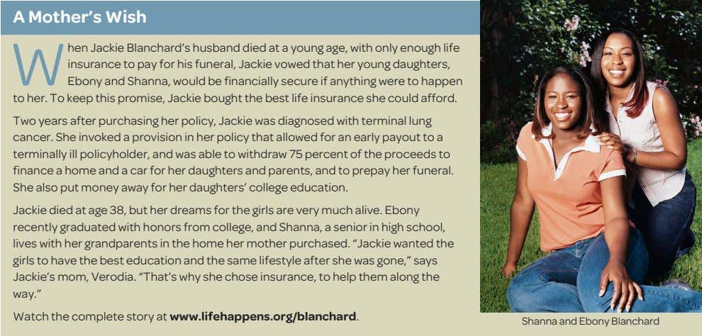 A Mother's Wish W hen Jackie Blanchard's husband died at a young age, with only