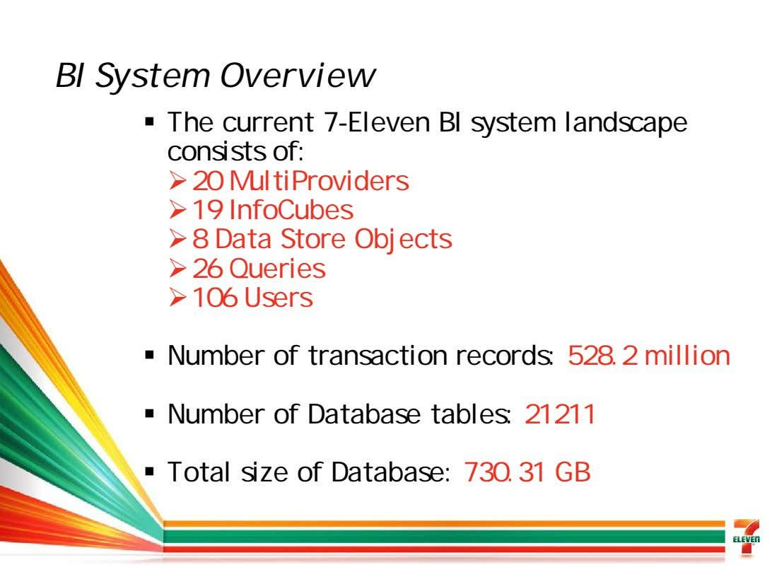 BI System Overview The current 7-Eleven BI system landscape consists of: 20 MultiProviders 19 InfoCubes