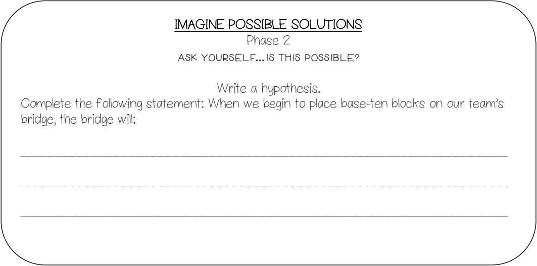 IMAGINE POSSIBLE SOLUTIONS Phase 2 Ask yourself …Is this possible? Write a hypothesis. Complete the