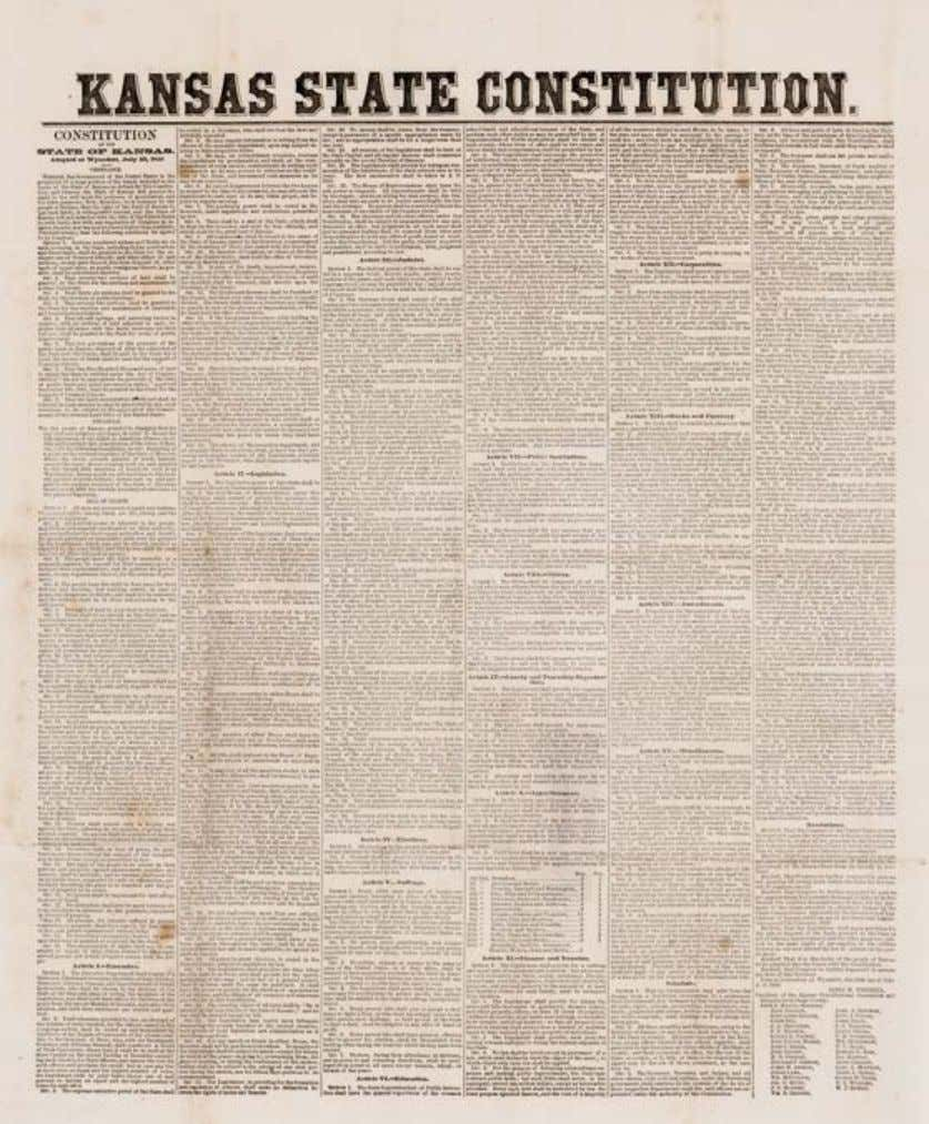 27 Kansas State Constitution, Broadside, 1859. Leavenworth, Kansas: Printed at, and forwarded from the State