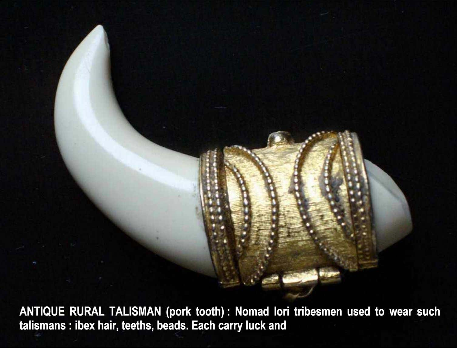 ANTIQUE RURAL TALISMAN ( pork tooth) Nomad lori tribesmen used to wear such ANTIQUE RURAL