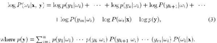 of P ( !ij x ; y ) in equation (2) can be expressed as This