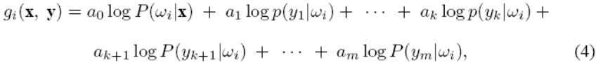 of occurrence. The introduction of the weighting scheme results in the following discriminant function for user