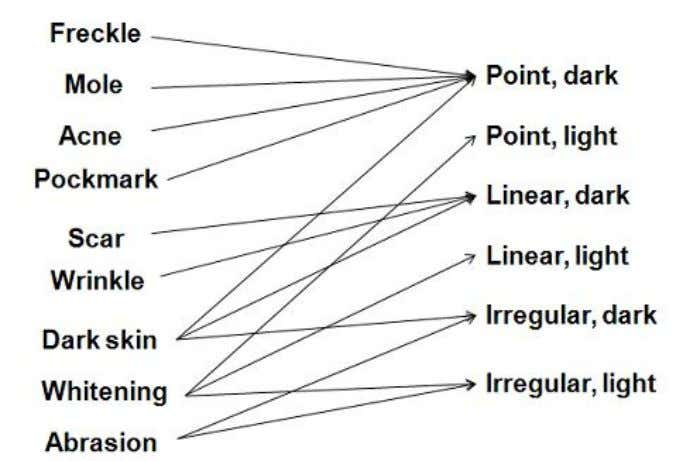 Fig 3.2 Schematic of the mapping from the semantic mark categories to the morphology and