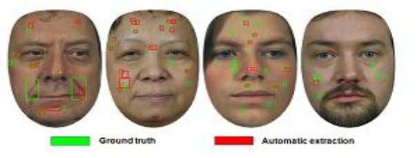 Fig 3.10. Ground truth and automatically detected facial marks for four images 3.2.5. Blob Classification