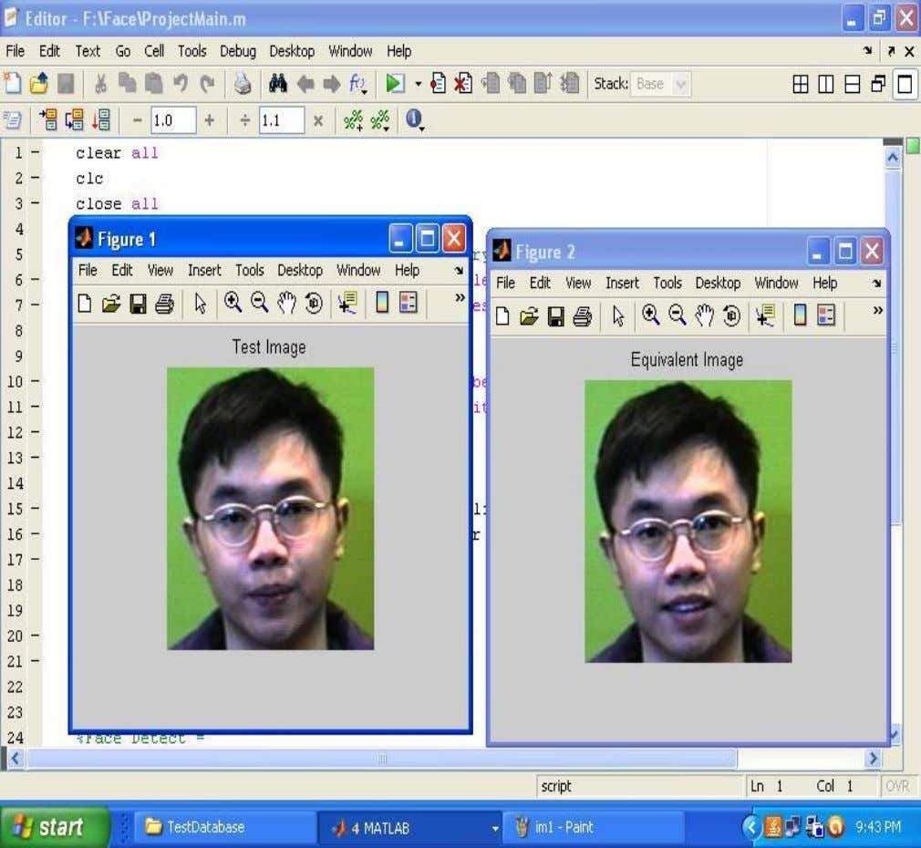 the images in test database and train database are matched and the corresponding images were displayed
