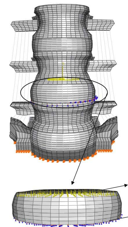 Application of compressive load Endplate is fixed Figure 3.7: The loading scenario for simulating disc