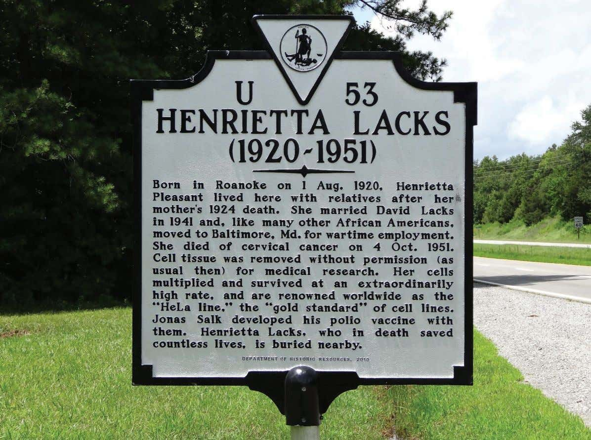 REMEMBERED: A historical marker along a highway near Clover, Virginia, commemorates the life of Henrietta