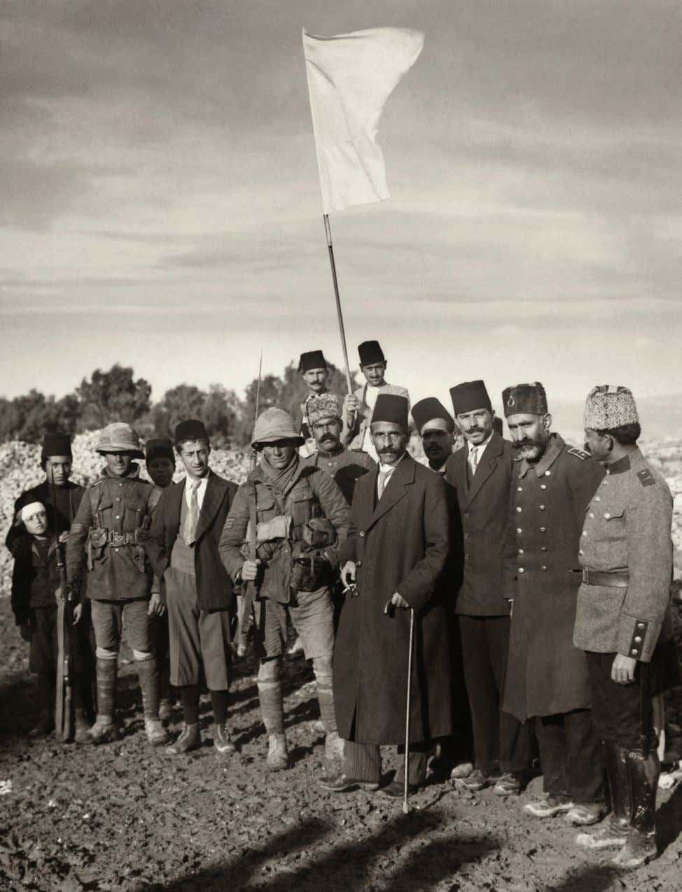 BEGINNING OF THE END: Jerusalem Mayor Hussein Effendi al-Husseini, center, and other Ottoman officials meet