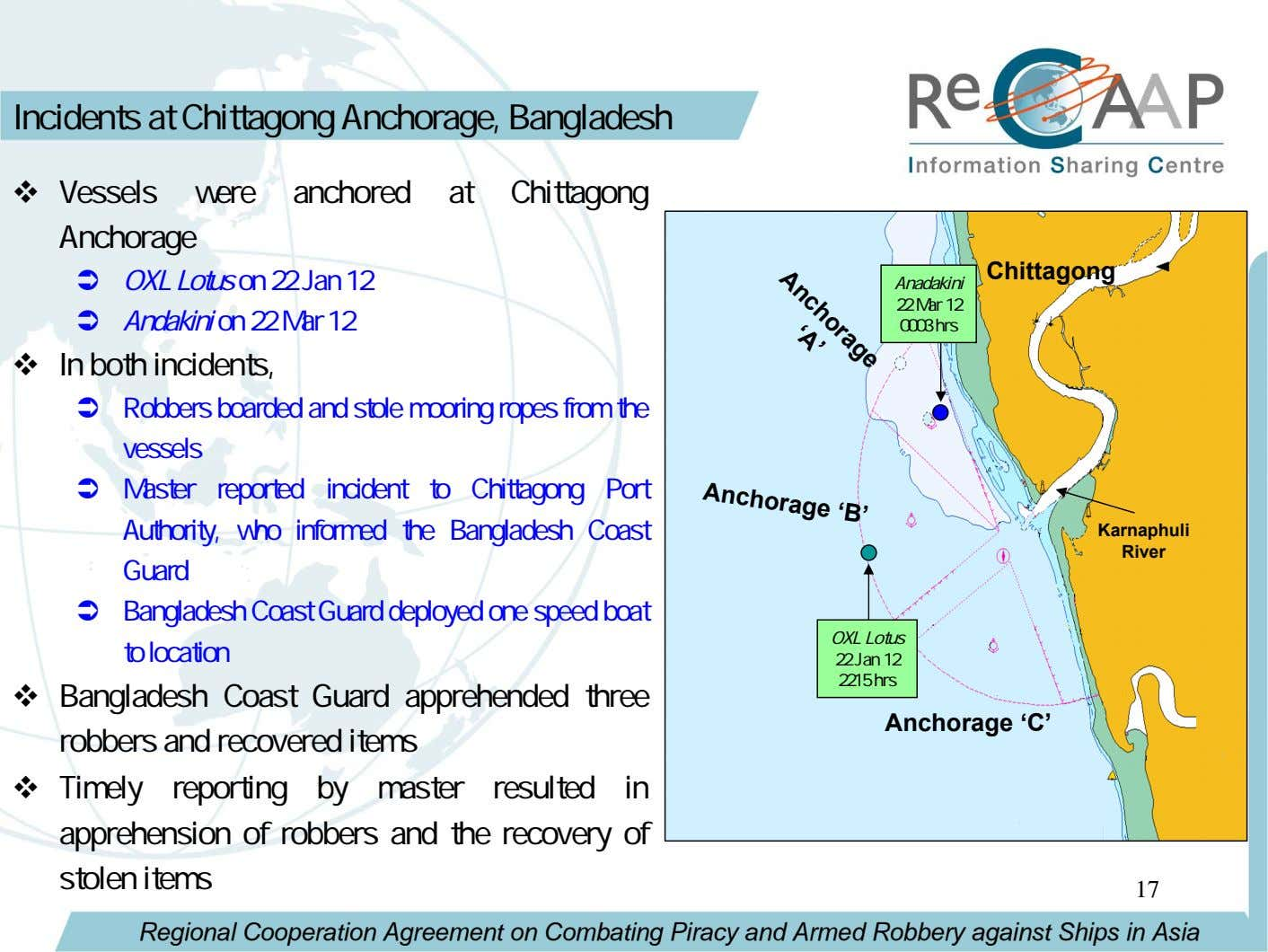 Anchorage 'A' Incidents at Chittagong Anchorage, Bangladesh Vessels were anchored at Chittagong Anchorage