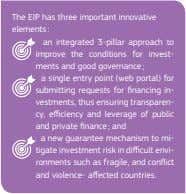The EIP has three important innovative elements : an integrated 3-pillar approach to improve the