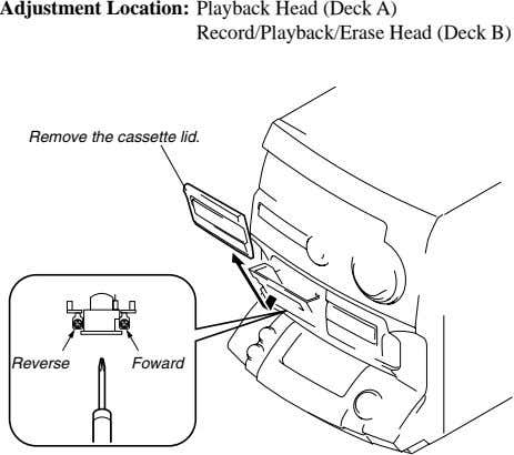 Adjustment Location: Playback Head (Deck A) Record/Playback/Erase Head (Deck B) Remove the cassette lid. Reverse