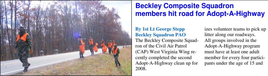 Beckley Composite Squadron members hit road for Adopt-A-Highway By 1st Lt George Stepp Beckley Squadron PAO