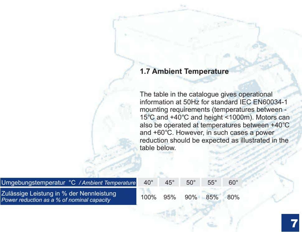 1.7 Ambient Temperature The table in the catalogue gives operational information at 50Hz for standard