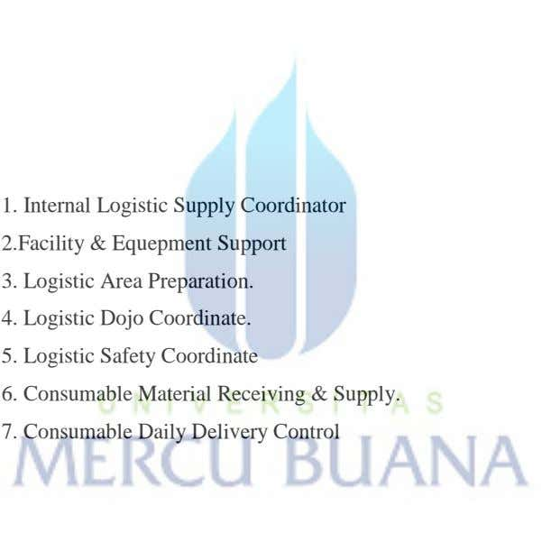 1. Internal Logistic Supply Coordinator 2.Facility & Equepment Support 3. Logistic Area Preparation. 4. Logistic
