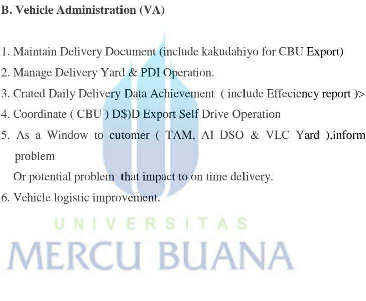 B. Vehicle Administration (VA) 1. Maintain Delivery Document (include kakudahiyo for CBU Export) 2. Manage