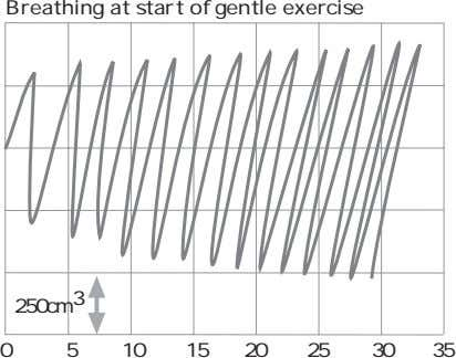 Breathing at start of gentle exercise 250cm 3 0 5 10 15 20 25 30