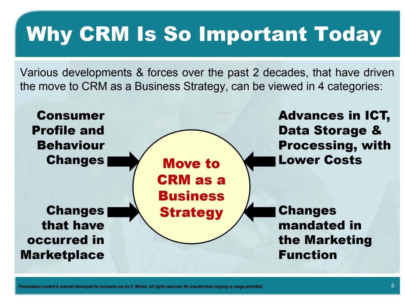 Why CRM Is So Important Today Various developments & forces over the past 2 decades,