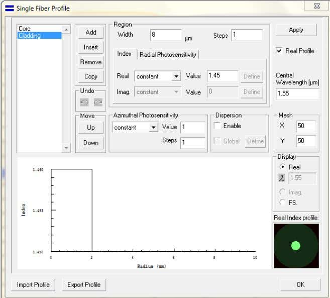 µm Single fiber profile for our simulation is shown in fig. 4 Fig. 4 fiber profile