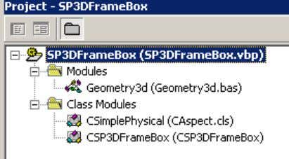 The Visual Basic project consists of the following modules: 12. Open the CSP3DFrameBox Class module. This