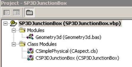 The Visual Basic project consists of the following modules: 12. Open the CSP3DJunctionBox Class module. This