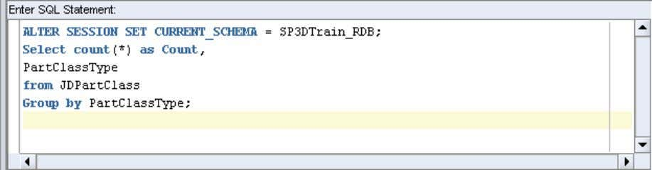 SET CURRENT_SCHEMA = SP3DTrain_RDB; Select count(*) as Count, PartClassType from JDPartClass Group by PartClassType; 24