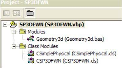 The Visual Basic project consists of the following modules: 12. Open the CSP3DFWN Class module. This