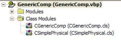 The Visual Basic project consists of the following modules: 10. Open the CGenericComp Class module. This