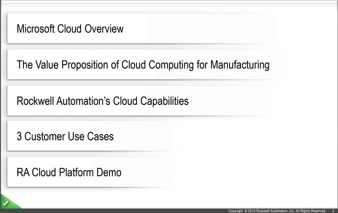 Microsoft Cloud Overview The Value Proposition of Cloud Computing for Manufacturing Rockwell Automation's Cloud