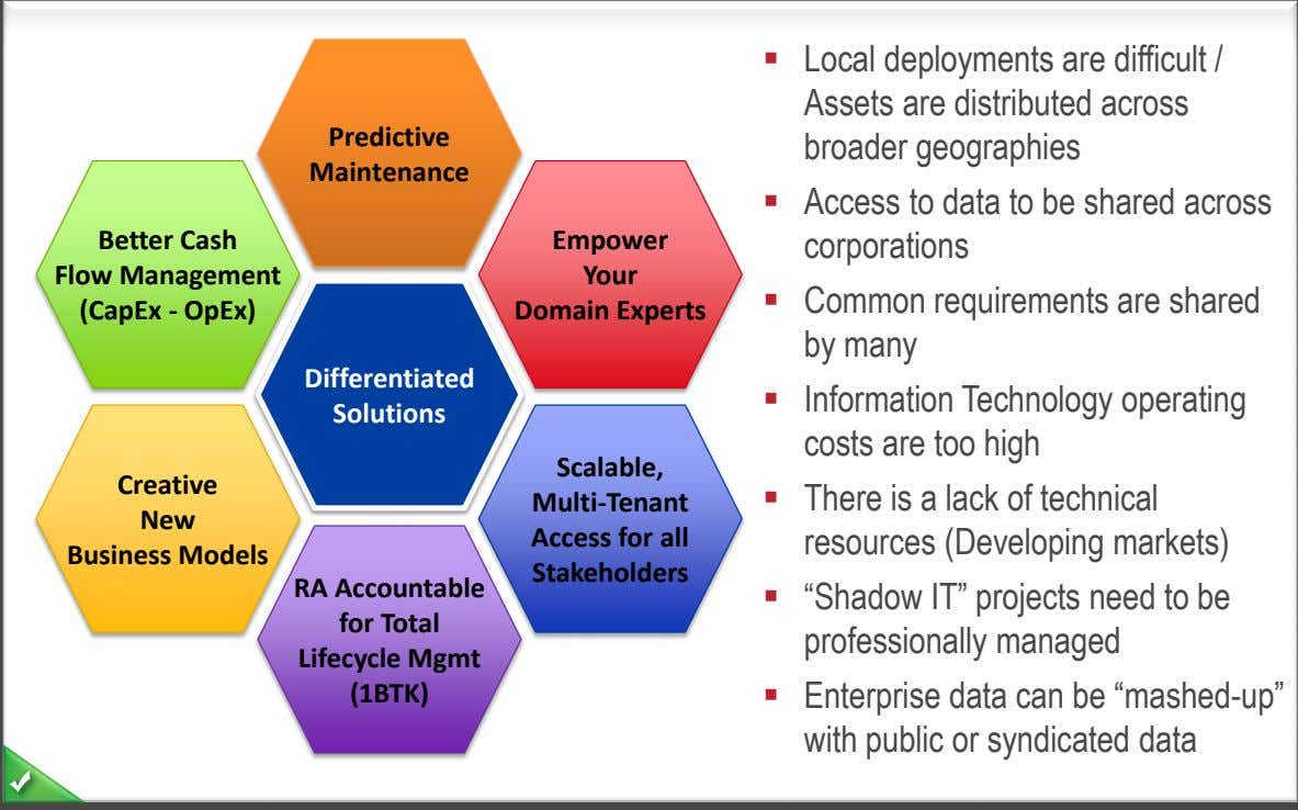  Local deployments are difficult / Assets are distributed across Predictive broader geographies Maintenance Better
