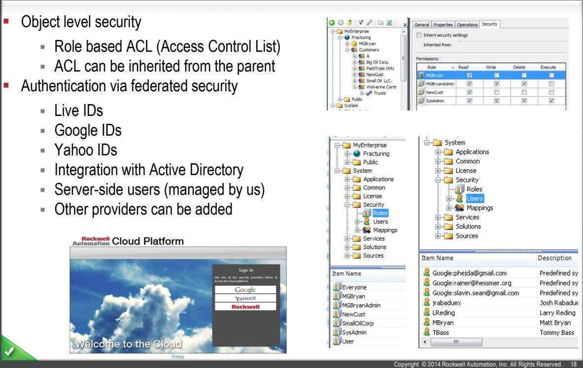  Object level security  Role based ACL (Access Control List)  ACL can be
