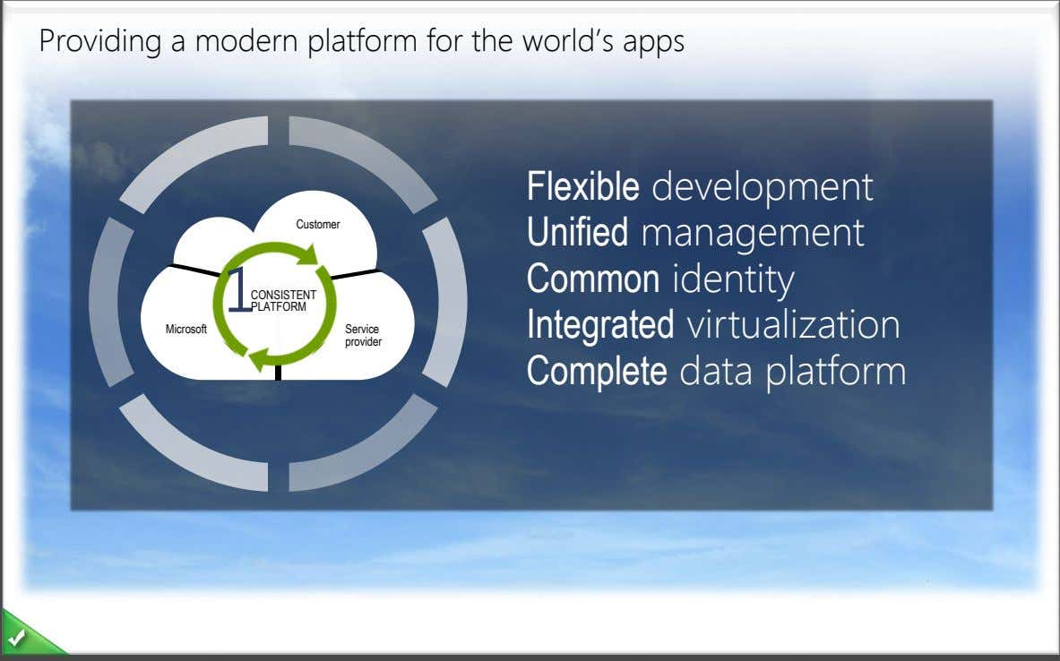 Providing a modern platform for the world's apps Customer Flexible development Unified management Common identity