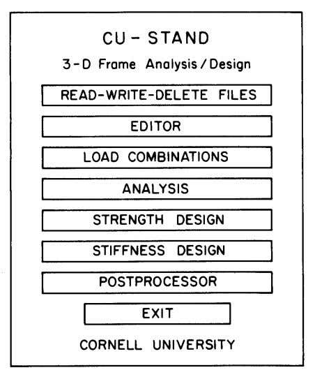 and conscientiously, and to stand behind the results. Fig. 4. CU-STAND control page, 1988. 162 ENGINEERING