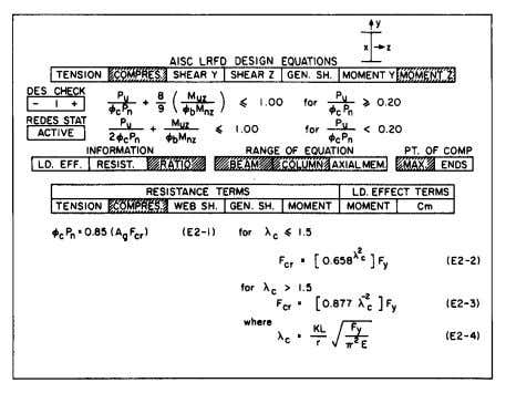 Beyond the obvious there will be countless opportunities Fig. 5. CU-STAND LRFD equation page, 1988. FOURTH