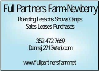 Full Partners Farm-Newberry Boarding Lessons Shows Camps Sales Leases Purchases 352 472 7669 Dennaj2713@aol.com