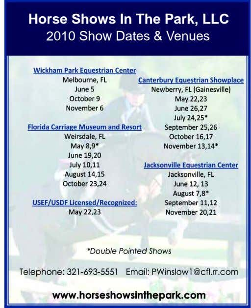 Horse Shows In The Park, LLC 2010 Show Dates & Venues